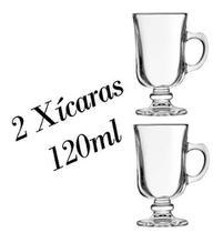 2 Xícaras 120ml Cappuccino Caneca Irish Coffee - Crisal