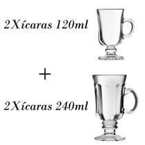 2 Xícaras para café 120ml + 2 xícaras Country 240ml - Crisal