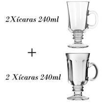 2 Xícaras para café 240ml + 2 xícaras Country 240ml - Crisal