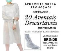 20 Aventais Descartáveis TNT 30G Branco + 100 Propé Brinde - Jalecopro