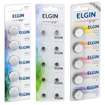 20 Bateria Pilha Botão Lítio Elgin 1,5v Lr626 AG4 377 + 20 Cr2032 3v + 20 Cr2025 3v -