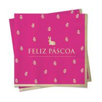 20 Guardanapo Papel Ovinhos Coelho Mesa Pascoa 33X33Cm Rosa - Cromus