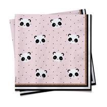 20 Guardanapos Papel Mesa Panda 25X25Cm - Cromus