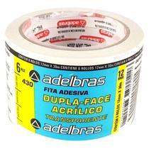 24 Fitas Dupla Face Transparente 12 mm X 30 m Adelbras -