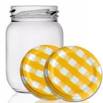 24 Potes De Vidro Conserva 268 Ml Tampa Xadrez Amarela+Lacre - Empório Pack