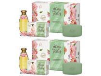 2x kit estojo alma de flores finíssimas essências com colônia 120ml + saboneteira + sabonetes 130g - Menphis