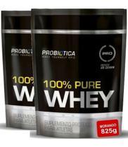 2x Whey 100% Pure Refil 825g (1650 kg) Morango Probiótica - Probiotica