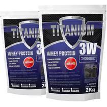 2x whey protein hidrolisado isolado concentrado 3w 4kg Titanium - Morango - Titaniun