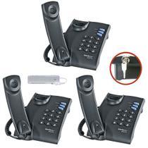 3 Aparelho Telefone C/ Fio Chave Intelbras Pleno mesa parede -