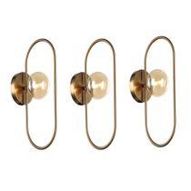 3 Arandela Interna Bronze Oval Globo Vidro Champagne Ball Ace69 - Acende A Luz