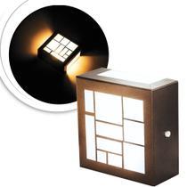 3 Arandelas Luminária Loy Marrom Para Parede Interna E Exter - E-Led Brasil