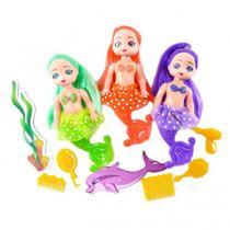 3 bonecas sereias encantadas com acessórios - Arktoys