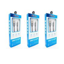 3 Cabos Metal Reforçado USB Kingo 1m 2.1A para Galaxy A01 -