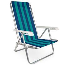 3 Cadeira Reclinável Praia Alumínio  Cores 4 Posições Mor -