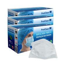 3 Caixas de 50un Máscara Cirúrgica Protclean Descartável Tripla com Elástico Branca - Protdesc -