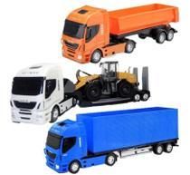 3 Caminhão Brinquedo - Baú Caçamba Plataforma C Carregadeira - Usual Brinquedos