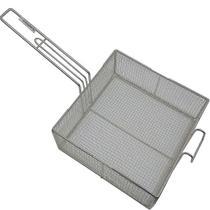 3 Cesto Peneira Fritura Fritadeira Quadrado Em Tela 25x25x10cm - Alemtex