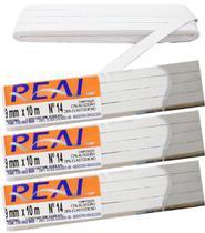 3 Elástico Chato Trançado Branco 9mm 10m Nº 14 Real 3114 -