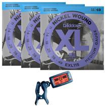 3 Encordoamentos Guitarra Daddario .011 EXL115 + Afinador -