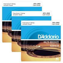 3 Encordoamentos Violão Aço Daddario .011 85/15 Ez910 -