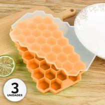 3 formas para gelo em silicone com tampa - laranja - Casa & Novidade