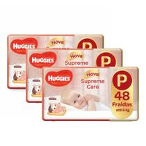 3 Fraldas Infantil Descartável MONICA HUGGIES Supreme care MEGA P 48 unidades -