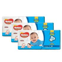 3 Fraldas Infantil Descartável  MONICA HUGGIES Tripla Proteção JUMBO M 32unid. -