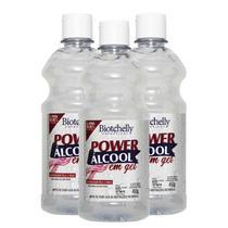 3 Frascos Power Álcool Em Gel 70º Inpm 450g - Biotchelly -