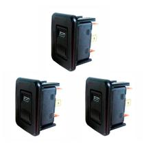 3 Interruptores de Vidro Elétrico Individuais com LED verde - VW 321959855 - 12V - DNI 2013 -