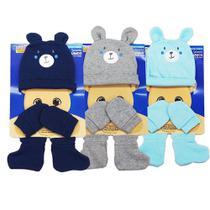 3 kit maternidade urso touca luva e sapatinho masculino - Gente Miuda