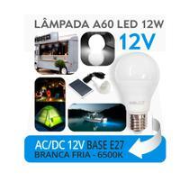 3 Lâmpadas LED 12 VOLTS ( Uso com bateria) A60 12W E27 - Luz Branca Fria - MBLED