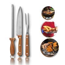 3 peças churrasco faca garfo chaira kit original 123útil -