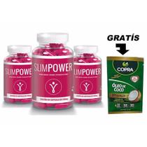 3 Pote Slim Power 60 Caps + Oleo De Coco 15g - Nutri gold