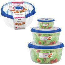 3 potes de plástico com tampa para freezer microondas geladeira marmita vasilha comida sanremo flor -