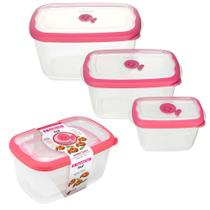 3 potes livre BPA com tampa frutas legumes freezer geladeira microondas tapoer tapuer sanremo flor -