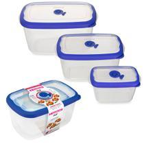 3 potes plástico com tampa para mantimentos frutas legume marmita vasilha tapoer tapuer sanremo flor -