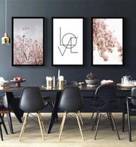 3 Quadros Decorativos Folhagem Love Quarto De Casal - Neyrad