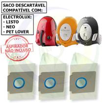 3 Saco Descartável para Aspirador De Pó Electrolux Listo / Neo / Pet Lover -