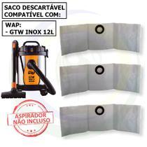 3 Saco Descartável para Aspirador de Pó Wap Gtw Inox 12 Litros -