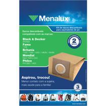 3 Sacos Descartáveis Menalux para Aspirador Black  Decker, Fama, Britânia, Mondial e Philco - SIM01 - Electrolux
