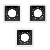 3 Spot Embutir AR70 Branco Fundo Preto Recuado Stella Sth8930BR/PTO -