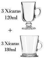 3 Xícaras 120ml + 3 180ml - Caneca Nespresso - Crisal