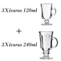 3 Xícaras de café 120ml + 3 xícaras country 240ml - Crisal