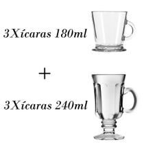 3 Xícaras de café 180ml + 3 xícaras country 240ml - Crisal