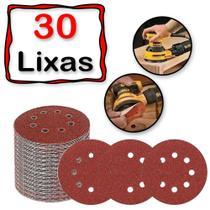 30 Discos Lixa Auto Adesivo Colante 125mm 8 Furos Lixadeira Roto Orbital Madeira Metal - Starfer