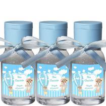 30 Lembrancinhas Maternidade 30ml -Ursinho Menino Arte Fixa Transp Tamp Azul Fita Azul Claro - ClickStock