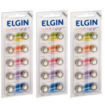 30 Pilhas Baterias Lr44 A76 Ag13 Alcalina Elgin - 03 Cartelas -