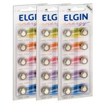 30 Pilhas Baterias Lr44 A76 Ag13 Alcalina Elgin 03 Cartelas -