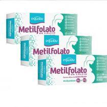 3x-L-Metilfolato de Cálcio-30 Caps.-355mcg-Equaliv-+B12 e B6 -