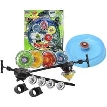 4 Beyblade Metal Led + Lançador + Arena - Lianfa Toys